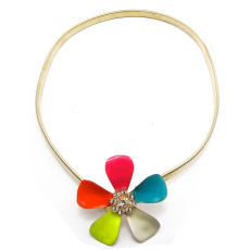 Charming Fashion Gold Plated stretch snake Chain enamel flower waist chain  Necklace N-0118