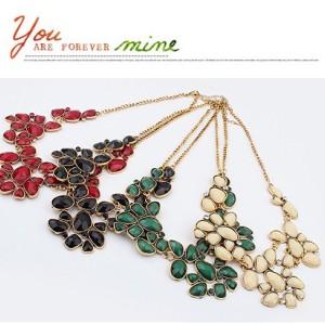 New Vintage Style Bronze Metal Resin Gem Flower Choker Necklace N-0513