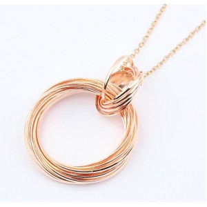 New Arrival Gold/Gun Black Plated Alloy Link Weave Hoop Pendant Necklace N-2291