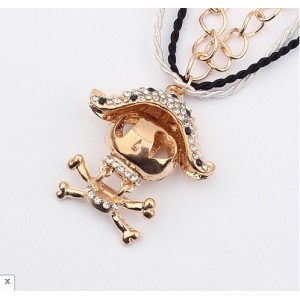 New Arrival Gold Plated Alloy Hemp Three Layer Chain Rhinestone Pirate Pendant Necklace N-2870