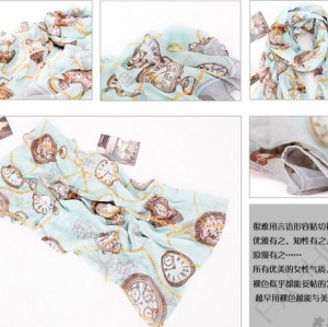 New Vintage Style clocks Watch printing ramie cotton yarn scarf 180cm*110cm C-0031
