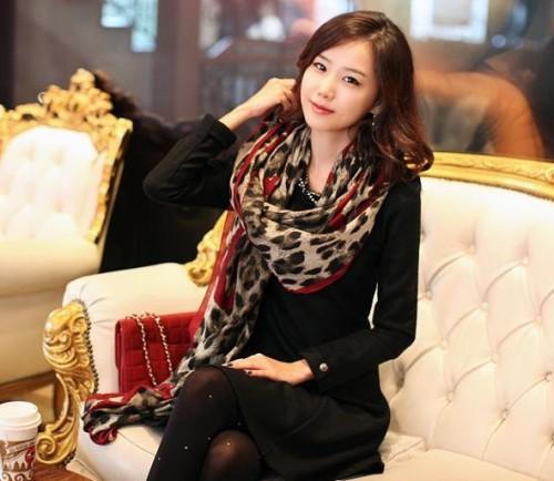 New European Style Fashion Leopard Heart cotton yarn scarf 180cm*110cm C-0032
