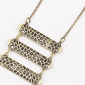 New Vintage style bronze Alloy Pattern Ladder Pendant Necklace N-4506