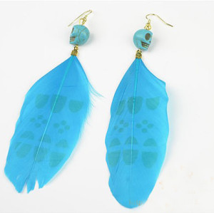 European style Opal skull head blue feather dangle  Earring Ear Stud E-0614