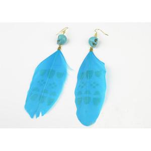 European style Opal skull head blue feather dangle  Earring Ear Stud E-0614