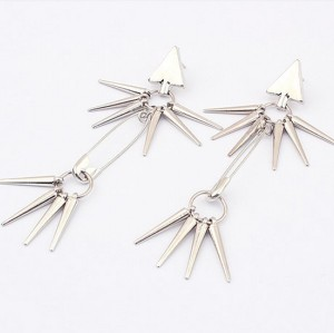 E-0101 New Punk Rivet  Hanging Tassel Triangle Ear Stud Earring