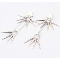 E-0101 New Punk Rivet  Hanging Tassel Triangle Ear Stud Earring