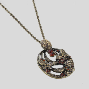 vintage Style bronze  rhinestone flower butterfly  pendant  Necklace N-2593