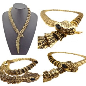 Retro Gold Alloy 2 Style Cute Magnet Carved Snake Necklace N-1878