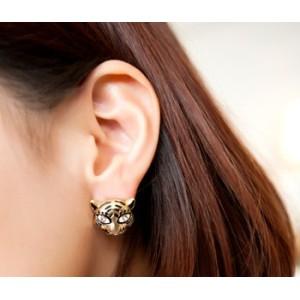 New Arrival Fashion Charming Tiger Hear Rhinestone Eye Ear Stud E-0633