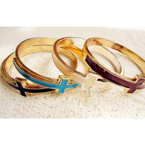 New European Style Gold Plated Alloy Colorful Enamel Crosses Bangle B-0215