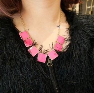 New Arrival Fashion Gold Plated Metal Enamel Square Choker Necklace N-4753