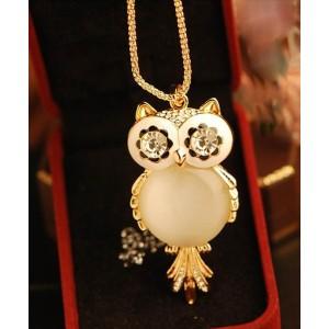 Fashion Gold Plated Metal Enamel eyes rhinestone cat's eye charms owl  Necklace N-2501
