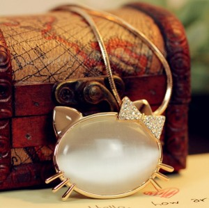 Fashion Gold Plated Metal rhinestone bowknot cat's eye charms cat Necklace N-3322