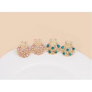 European Fashion Cute Gold plated Metal Enamel butterfly rhinestone Ear Stud  E-0221