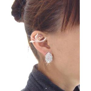 Charming Cute silver/gun black/Golg plated Metal rhinestone Beatles Ear Stud E-0016
