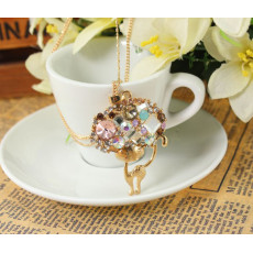 New Arrival Gold Plated Alloy Double Chain Crystal Big Head Cat Pendant Necklace N-3323