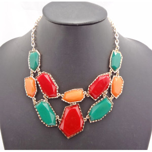 New Arrival Gold Plated Irregular geometry Resin gem Choker Pendant Necklace N-0782