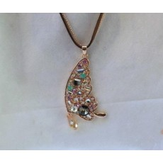 New Arrival Charming Gold Plated Metal Crystal Butterfly Pendant Double Chain Necklace N-2584