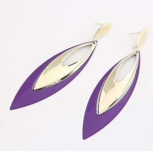 Gold Plated purple Enamel drop dangle ear stud E-0263