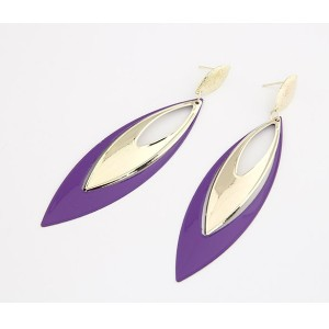 Gold Plated purple Enamel drop dangle ear stud E-0263