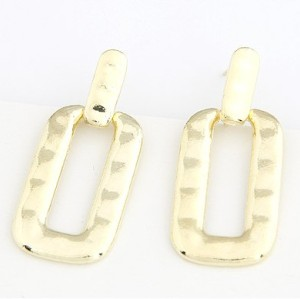 Gold Plated metal geometry rectangle dangle ear stud E-2028