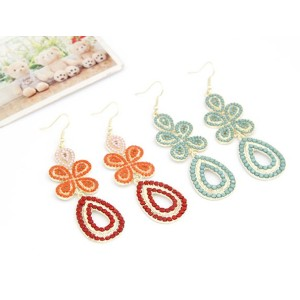 New European Style Gold Plated Resin Clover Drop Dangle Earring E-0127