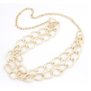 New European Style Gold Plated Circle Link Double Chain Necklace N-1529