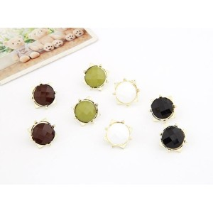 wholesale 4pairs 4 colors Gold Plated metal round gem square ear stud E-2081-WH