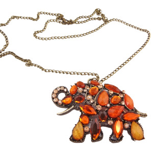 New European Style Charming Fashion Alloy Resin Gem Rhinestone Elephant  Necklace N-3362