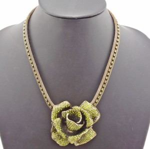 New Arrival Vintage Bronze Charming Rhinestone Rose Flower Choker Necklace N-0010
