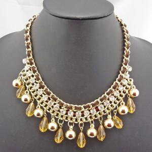 New Fashion Charming Beads Rhinestone Ball Drop Leather Chain Choker Necklace N-1300