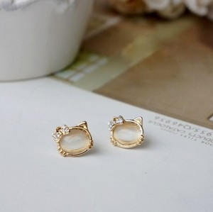 New Arrival Pair Charming Lovely Gold Plated Metal Cat Head Ear Stud E-1659