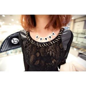 New Fashion Lovely Black White Enamel Triangle Choker Necklace N-4564