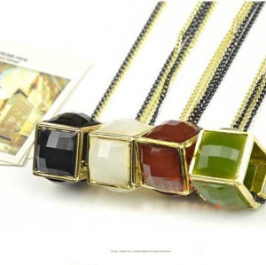 fashion style Square double chain magic cube resin gem pendant necklace N-4519