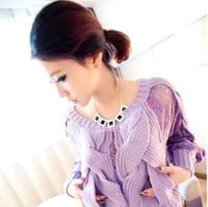 New Fashion Lovely Black White Enamel Square Grometric Choker Necklace N-4531