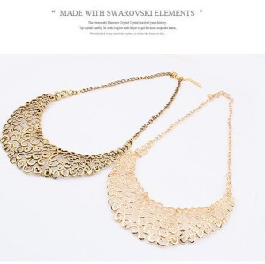 Fashion European Vintage Style Hollow Out Flower Bib Collar Necklace N-1827