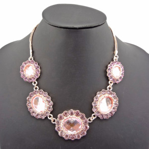 New Arrival Luxury Noble Style Gold Plated Crystal Pink Flowers  Pendant Necklace N-0760