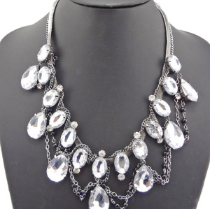 New Arrival Luxury Noble Style Gun Black Double Chains Clear Crystal Drop Pendant Necklace N-1320