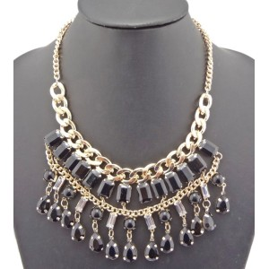 New Fashion Charming European Resin Square Drop Gem Choker Necklace N-0763