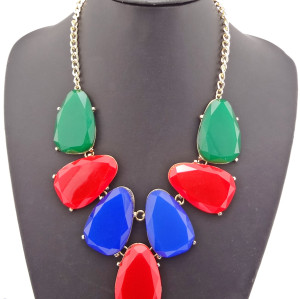 New European Style Gold Plated Alloy Charming  Resin Candy Drop Pendant Necklace N-0786