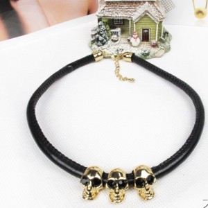New Charming European Style Gold Plated Alloy Leather Chain Skull Pendant Necklace Bracelet Set S-0003