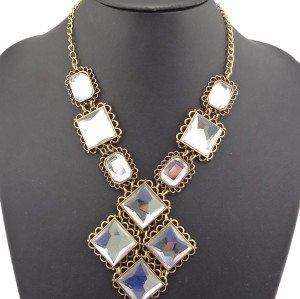 New Arrival Fashion Style Vintage Bronze 3Colors crystal pendant Necklace N-0779