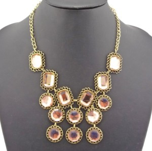 New Arrival Fashion Charming Vintage Bronze Pink Crystal Choker Necklace N-0801