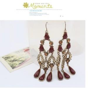 European Vintage Style Bronze Metal Resin Gem Drop Tassel Dangle Ear Stud Earrings E-0267