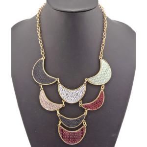 New Arrival Bronze Alloy Colorful Enamel Weave Crescent Choker Necklace N-4535