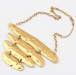 Vintage Style gold metal  street snap irregular graffiti necklace  N-1824