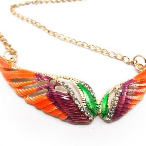 Vintage Style colorful Drop Enamel Rhinestone Wing  Necklace N-2808