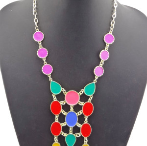 Fashion Gold plated colorful Enamel Drop Choker  Necklace N-0754