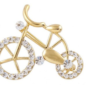 New Korean Style Gold Plated Alloy Rhinestone Bicycle Pin Brooch P-0031